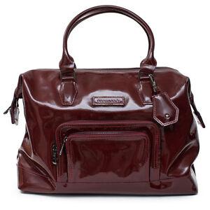 c5eb06d62b Longchamp Legende Borgonha Bolsa Vermelha Couro Envernizado de Mão ...