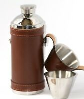 Stainless Steel Hip Flask And Cups Set In Leather Case Shooting Gift