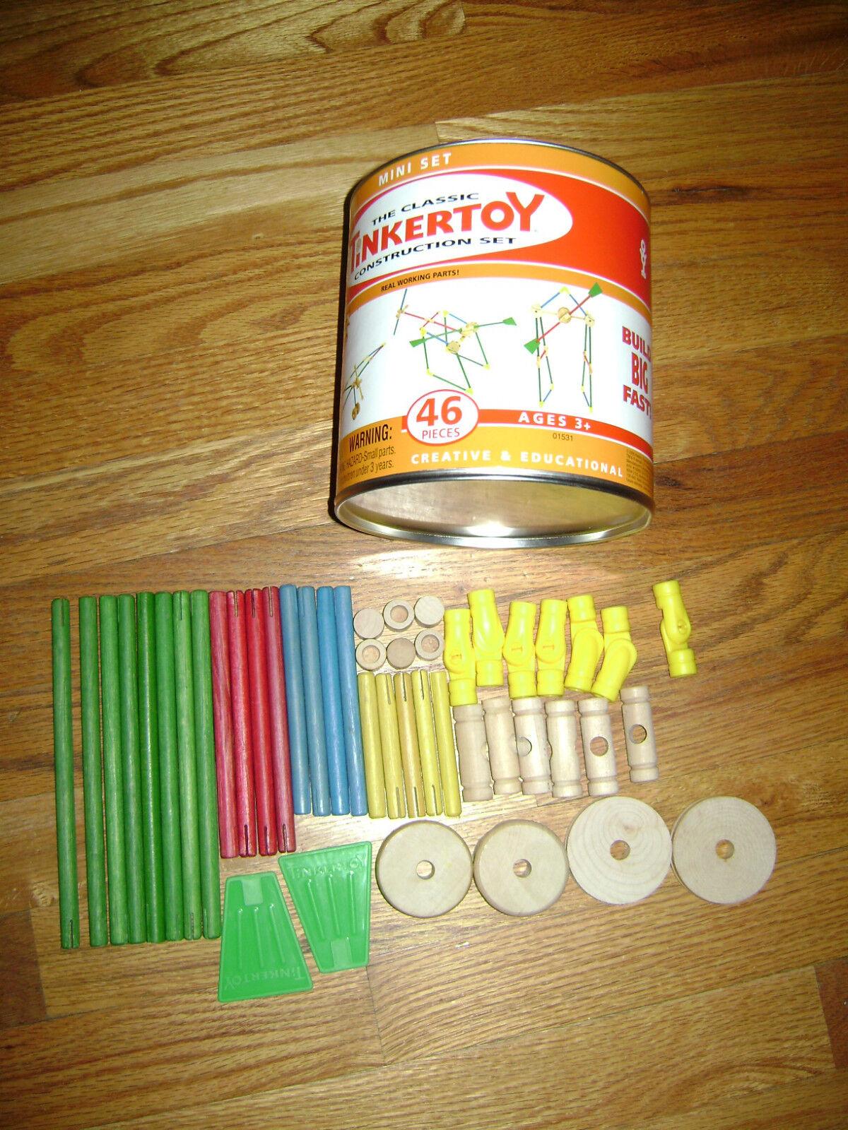 Hasbro clásico juego de 46 Piezas Mini construcción Tinkertoy En Caja De Madera Auténtica Raro