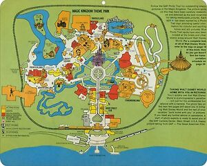 Walt Disney World theme park map from the 1970's replica metal sign on