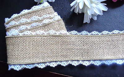 1.5 Inch Wired Burlap w/ Lace Edge selling by the yard