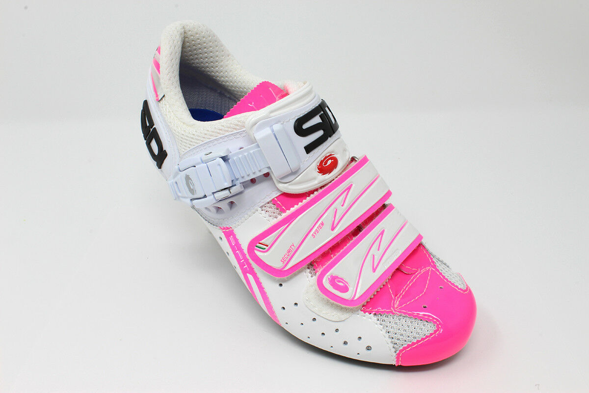 BRAND NEW Sidi Genius Fit Women White Pink Fluo Carbon Road Bike shoes