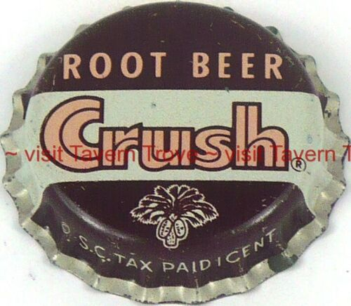 1960s No Bottler South Carolina Tax ROOT BEER CRUSH Cork-back Crown Tavern Trove