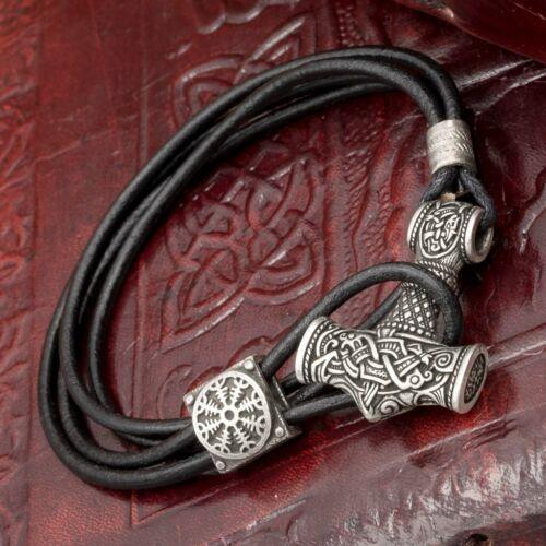 Silver Plated Thor/'s Hammer Mjolnir Leather Hook Bracelet
