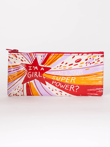 "Blue Q /""I/'m a Girl What/'s Your Super Power?/"" pencil case bag recycled feminist"