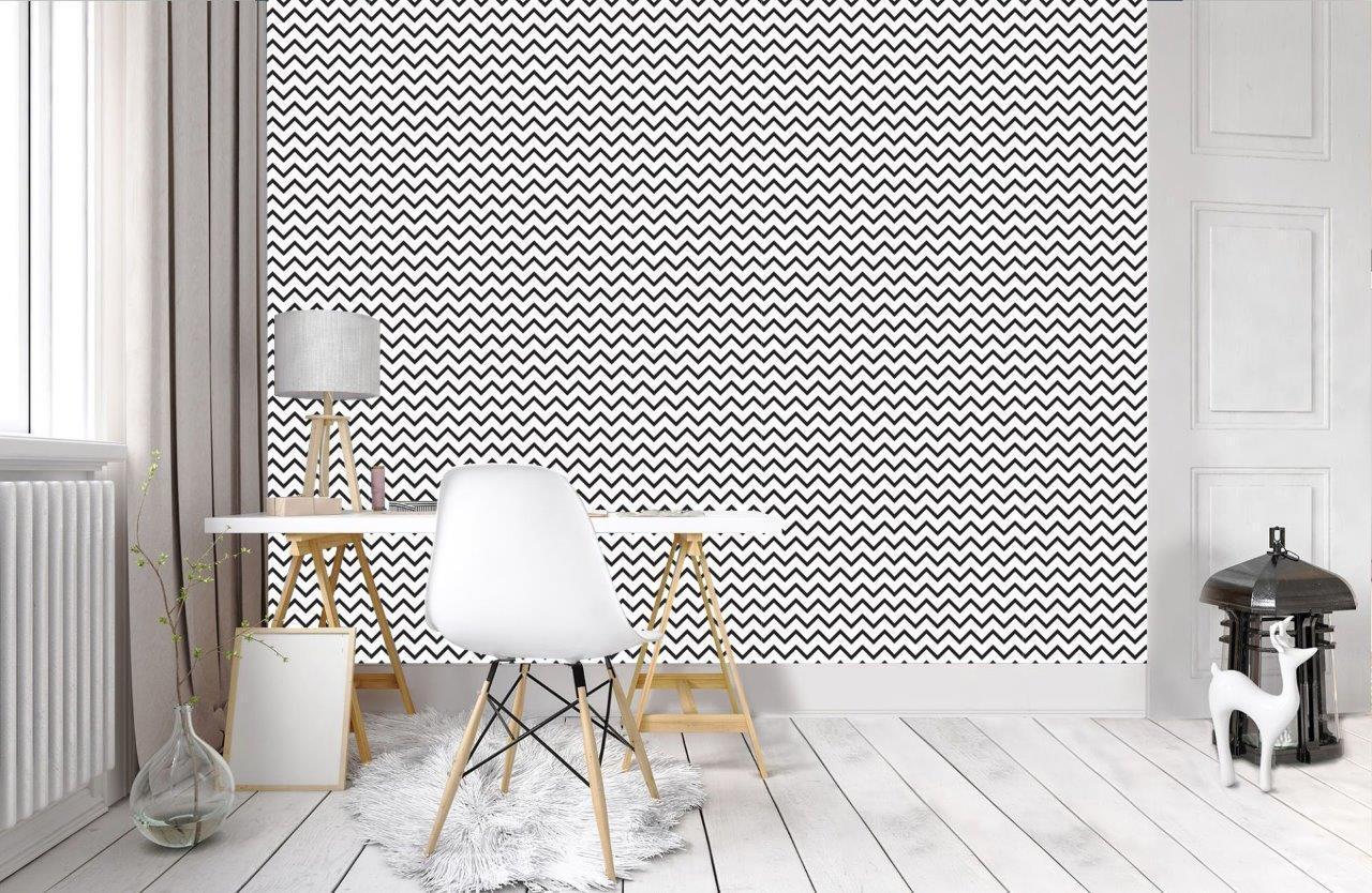 ZigZag Design Pattern Wallpaper Woven Self-Adhesive Wall Art Mural Decal T13