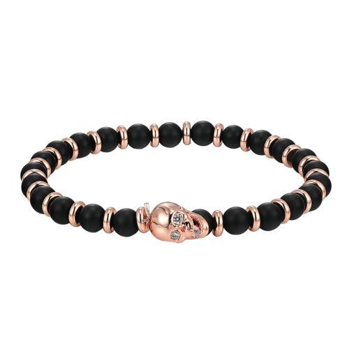 Skull Head Bracelet Black Bead Ring Band Links 14k Rose Gold Tone Solitaires