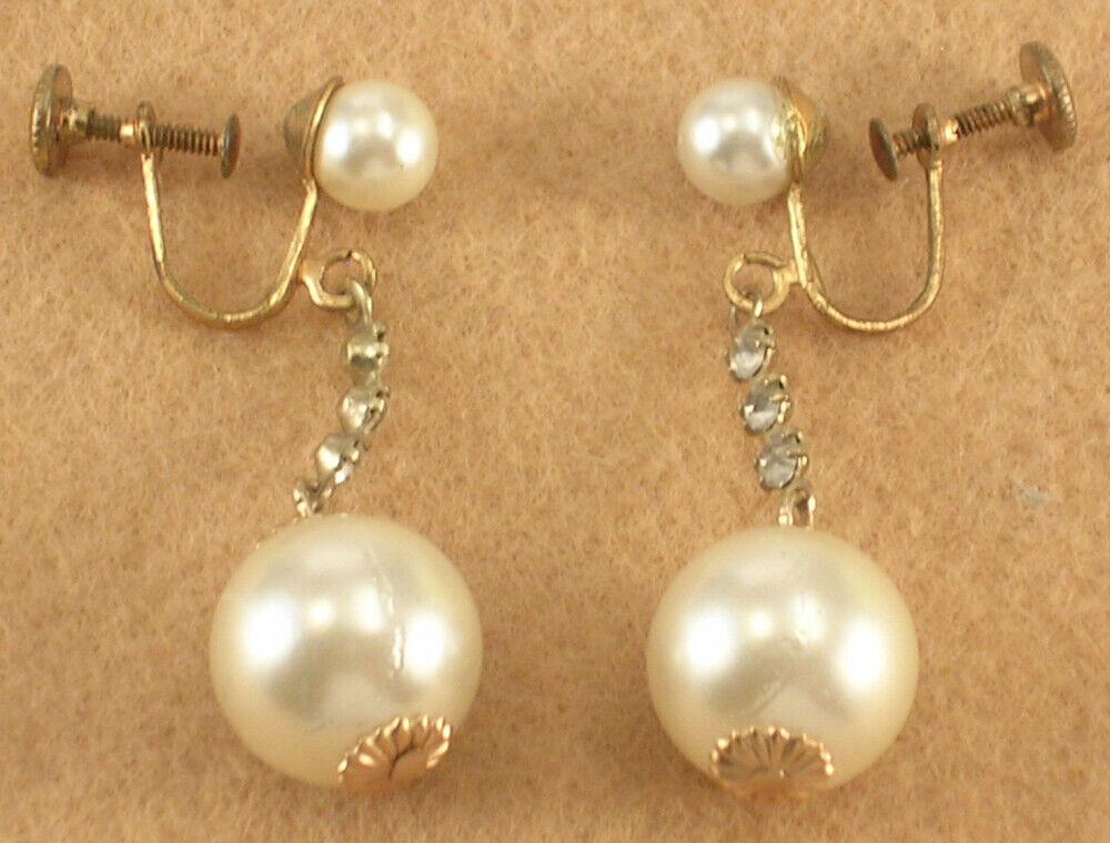 Vintage 1980s Plastic Imitation Pearl Screw Back Earrings