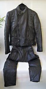 Louis-Motorrad-Lederkombi-Unisex-Echtes-Leder-Schwarz-Gr-36-38