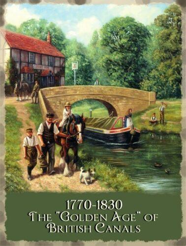 Nouveau 30x40cm British Canal navigable Narrowboat Barge Grande Tole Publicitaire
