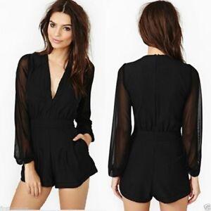 mono-traje-corto-fiesta-elegante-Sexy-Elegant-Classic-Black-Jumpsuit-Outfit