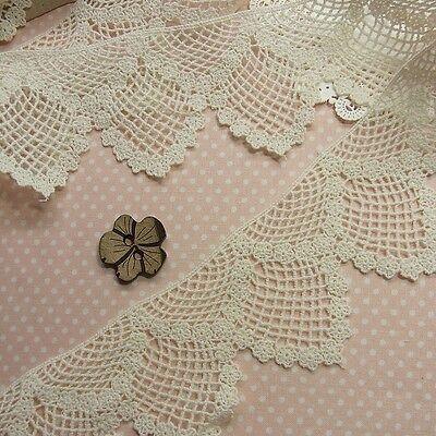 "1 Yard Vintage St Cotton Crochet Lace Trim  Doll Dress deco craft works 2.6"" WD"