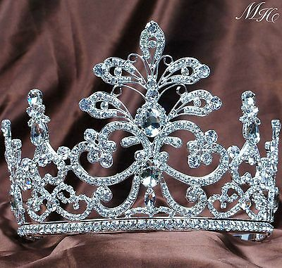 Floral Wedding Tiara Crown Rhinestone Crystal Headband Bridal Pageant Party Prom