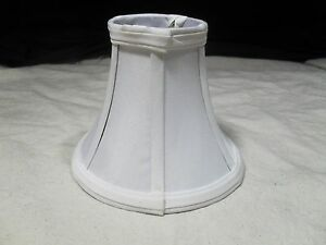 1 ~ Clip-On Chandelier Sconce Lamp Shade ~ Bell Shape ~ Fabric ~ White (#7)