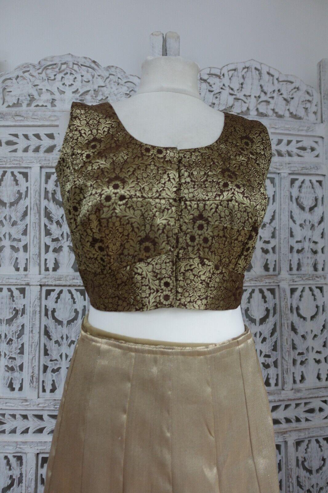 brown brocade Indian Bollywood Choli UK 10 / EU 36 Tunic sari blouse SKU17190