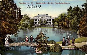 Frankfurt-am-Main-Hessen-1913-Zoologischer-Garten-Gesellschaftshaus-Bruecke-Teich
