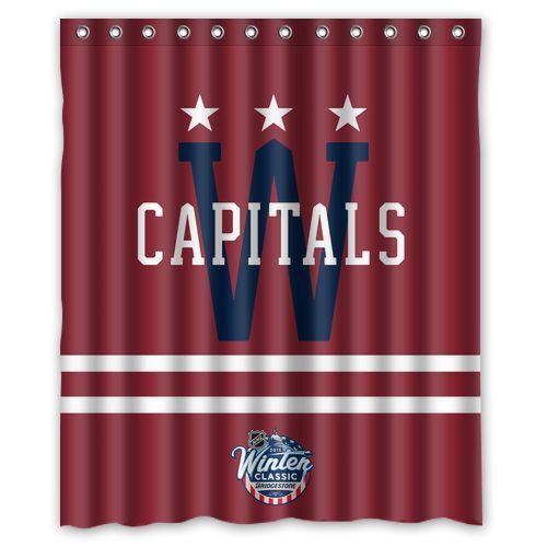 "Personalized Washington Capitals Hockey Waterproof  60/"" x 72/"" Shower Curtain"