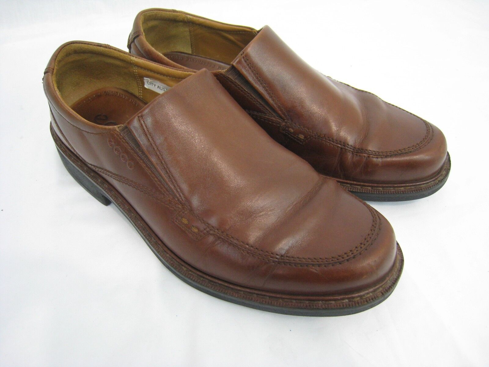 Ecco Mens shoes  9 42 Brown Fusion Slip on Loafers Leather Shock Point Light