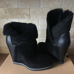 ugg black wedge bootie