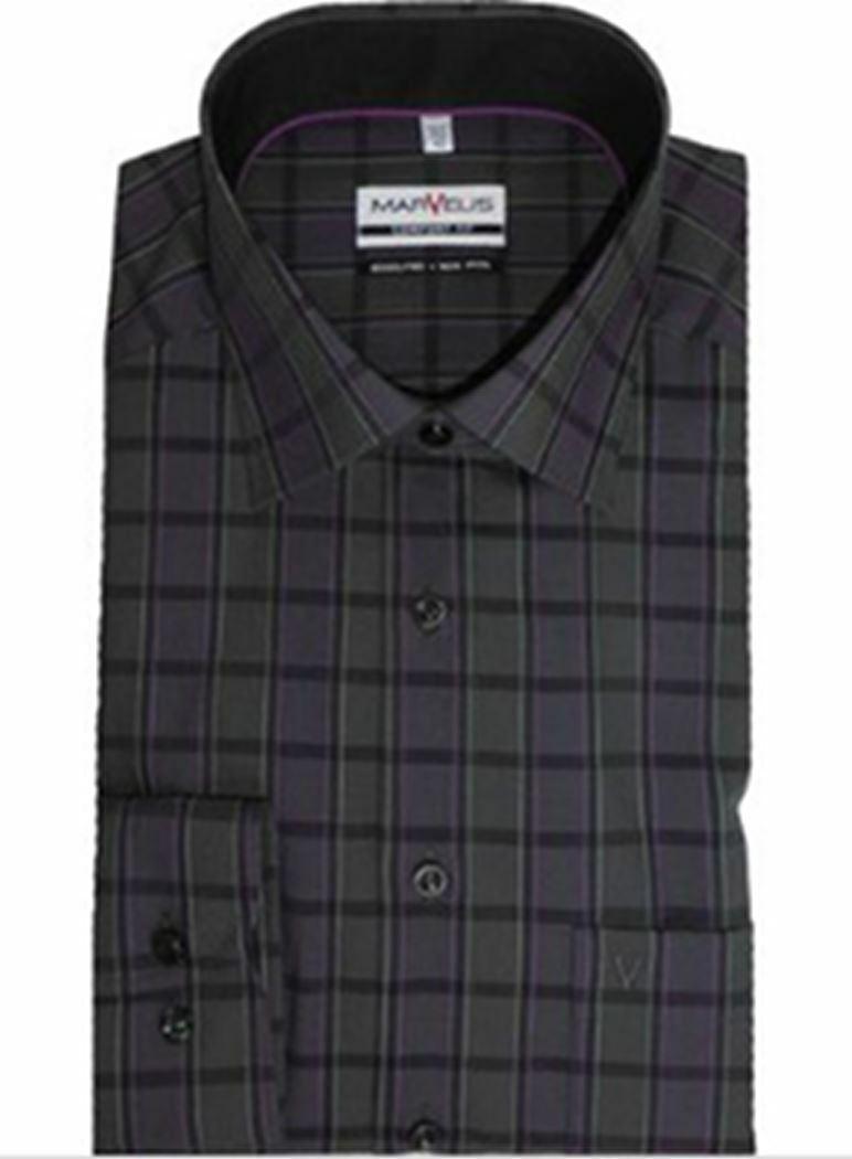 Black Mix Bold Stripe Spread Collar