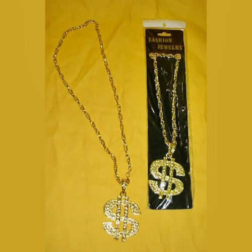 Pimp Rapper Big Daddy Necklace Large Gold $ Sign Metal with chain
