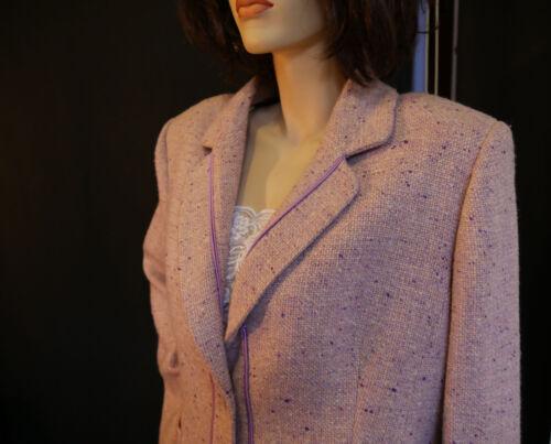 Paris Clémence 50 Superbe Mauve En Rose Neuf Jupe Tailleur Marie Chiné Laine Fz4q1Ox