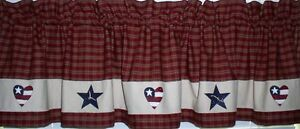 Details about Americana Hearts and Stars Valance Primitive Country Kitchen  Home Decor USA