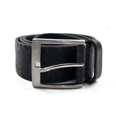Hugo Boss Men/'s Torialo Navy Blue Embossed Logo Leather Belt