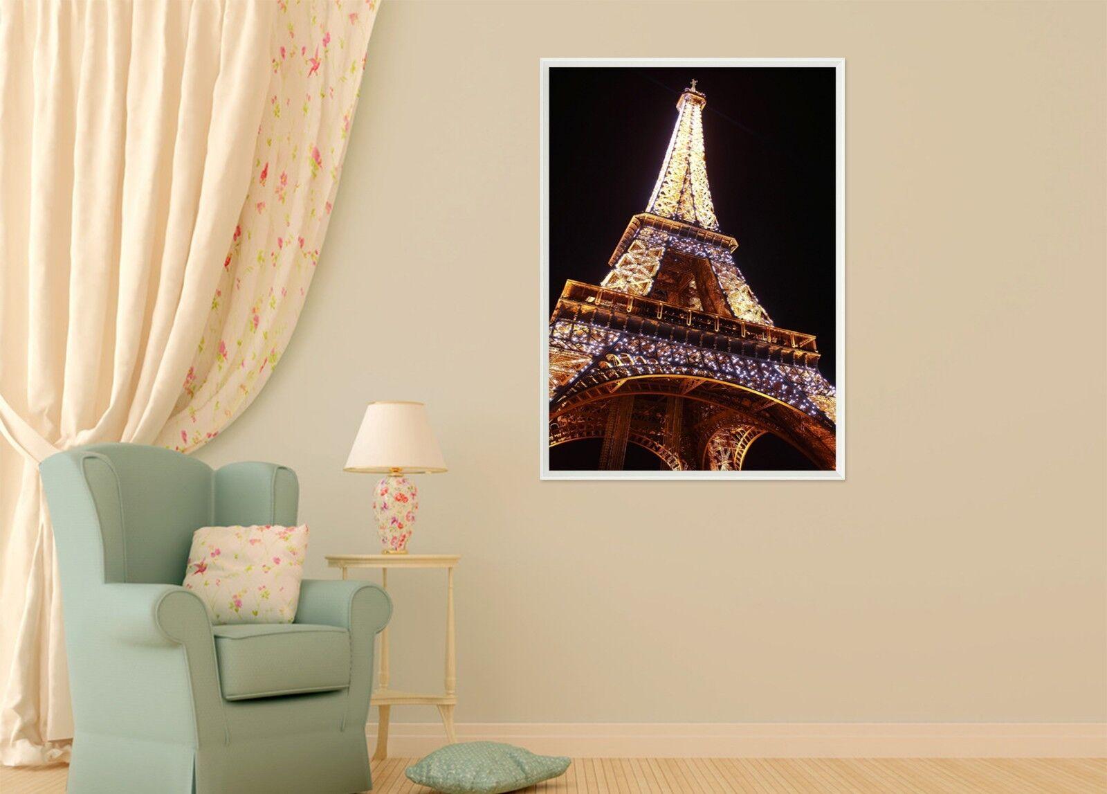 Torre Eiffel Noche 3D 47 Póster Enmarcado Decoración del Hogar Pintura de Impresión Arte AJ