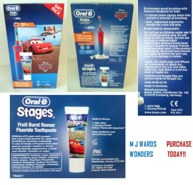 Oral-B Braun Cars-planes Electric Toothbrush Toothpaste Set