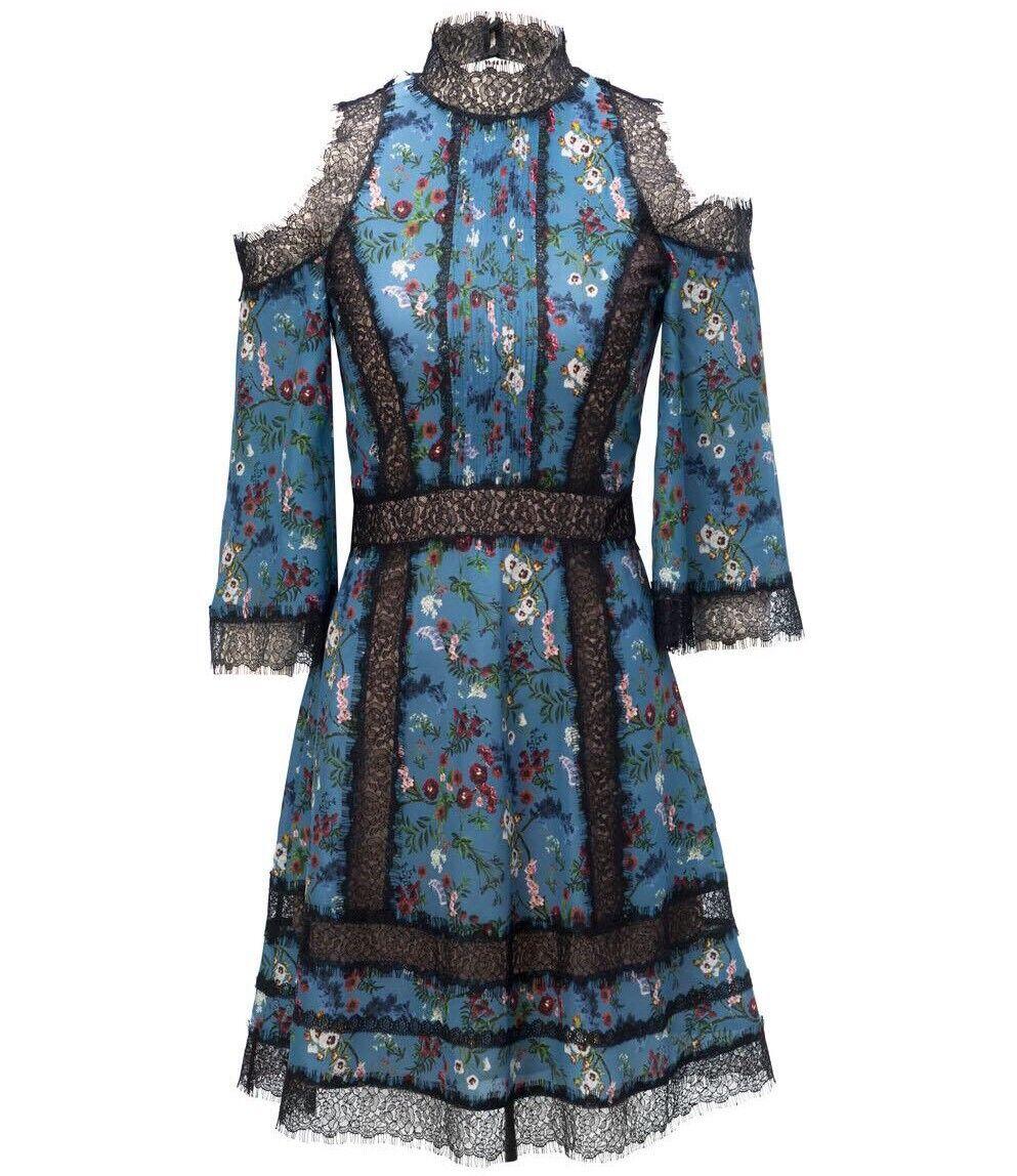 Alice Olivia Gatz Cold Shoulder Floral Dress blå Lace Storlek 6 NWOT