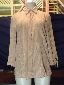 Misses-Liz-Claiborne-Size-M-Multi-color-Stripe-3-4-Sleeve-Button-Down-Shirt-EUC