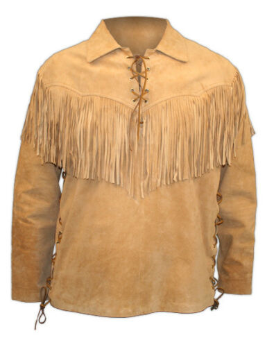 New Mens Western Style Brown Suede Leather Shirt With Fringes