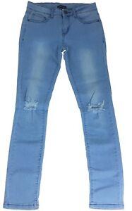 d5e0b1b811e Girls' Slim Fit Jeans Blue Light Washed Ripped Denim Pants Trousers ...