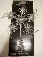 Silver Holographic Glitter Stars Metal Tree Topper Christmas Decoration