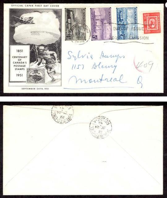 Canada #311-314 Centenary BNA Postal Admin. Sept. 24 1951 Toronto Registered FDC
