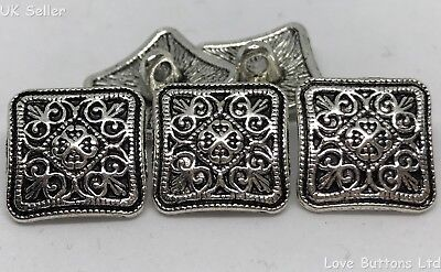 Silver Tibetan Flower Buttons in Zinc Metal Shank in Pack Sizes of 2 5 or 10