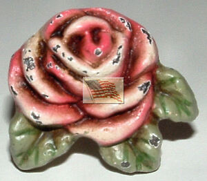 DISTRESSED ANTIQUE LOOKING ROSE DRAWER KNOBS / PULLS 1 3/8x1 1/2x 7/8 with screw