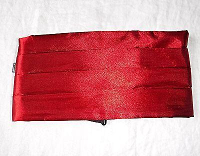 * Elegante Vintage Profondo Rosso In Raso Fascia Dello Smoking Prom Sera 32 - 35 Pollici Di Vita-mostra Il Titolo Originale