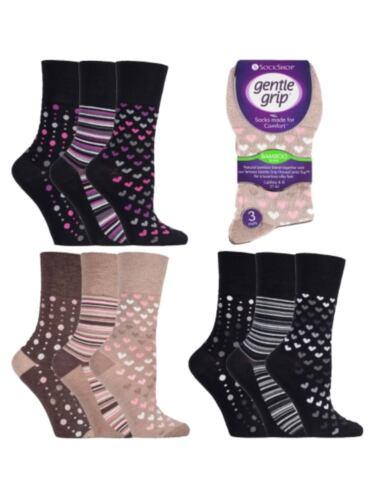3 Ladies Gentle Grip® Bamboo Blend Non Elastic Socks UK 4-8