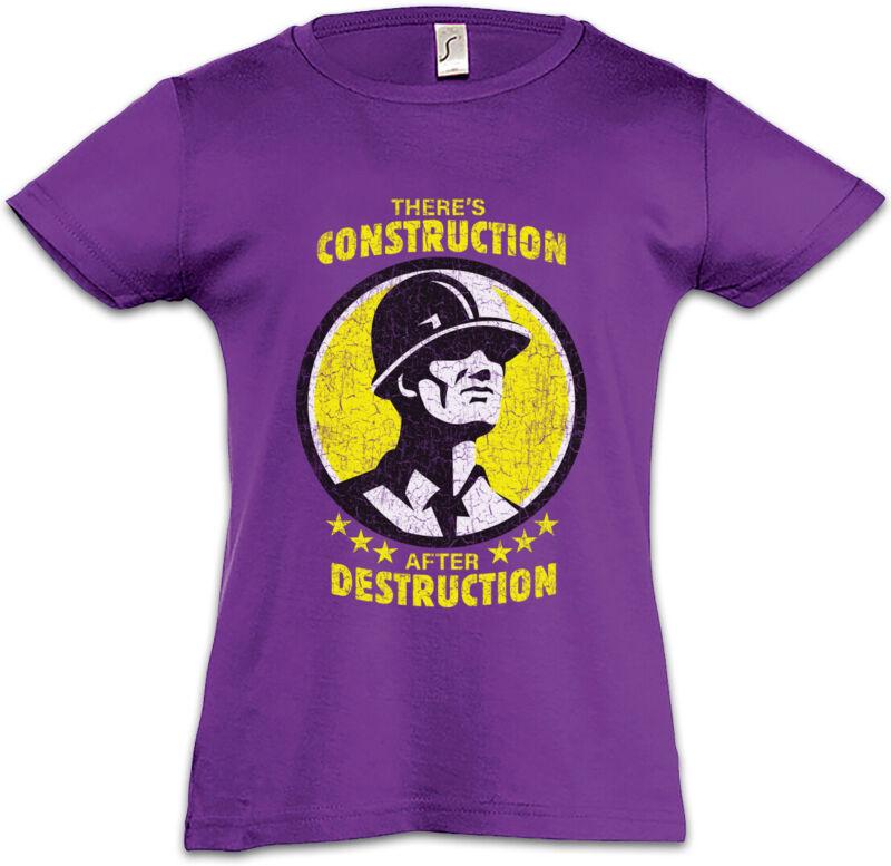 There's Construction After Destruction Kids Girls T-shirt Housebuilder Mason