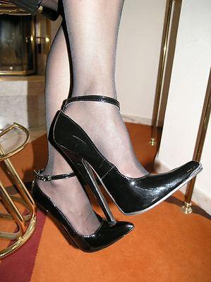 3f21ba9571347 Extrem Stiletto Lack Pumps High-Heels Größe 41 Schwarz mit Riemchen 18cm  Absatz | eBay