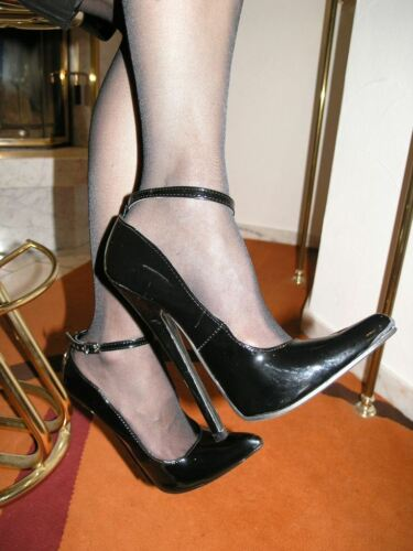 paragraphe Extrêmement stiletto verni escarpins talons-hauts taille 41 noir avec bride 18cm
