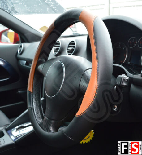 UNIVERSAL BLACK//BROWN 37 TO 39CM FAUX LEATHER STEERING WHEEL COVER-CTR1