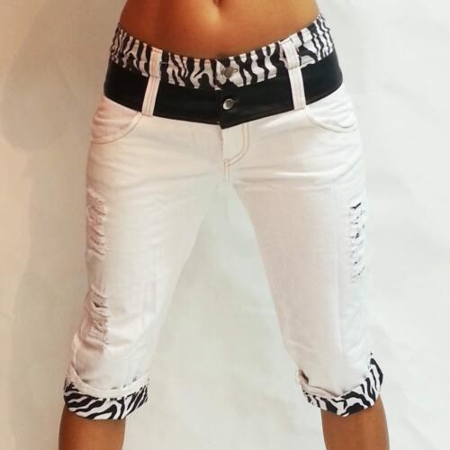 Boyfriend 3//4 Jeans Hose crazy-chris Vintage weisse Capri zebra pants