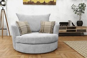 Image Is Loading Large Swivel Round Cuddle Chair Fabric Grey Cream  Part 88
