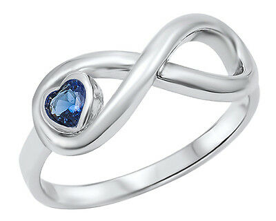 New 925 Sterling Silver Infinity Blue Sapphire Heart CZ Ring
