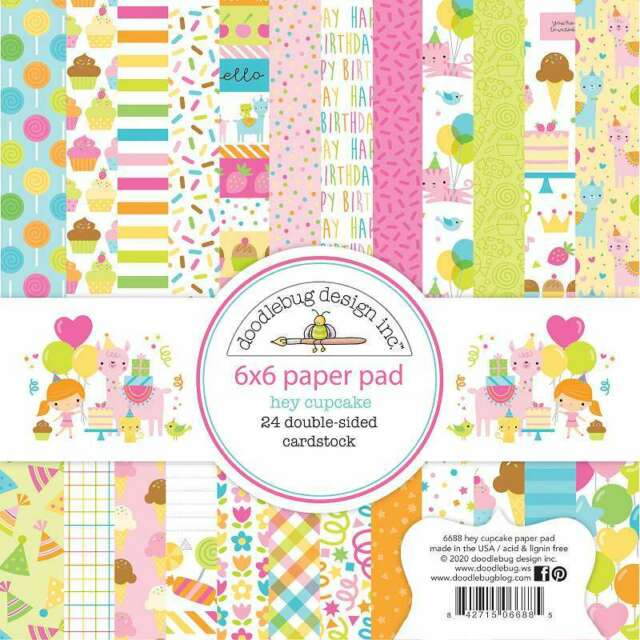 """Doodlebug Double-Sided Paper Pad 6""""X6"""" 24/Pkg Hey Cupcake 842715066885"""