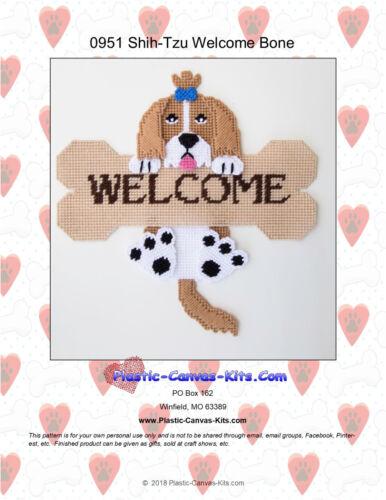 Shih-tzu//Shitzu Dog and Bone Welcome Sign Plastic Canvas Pattern or Kit