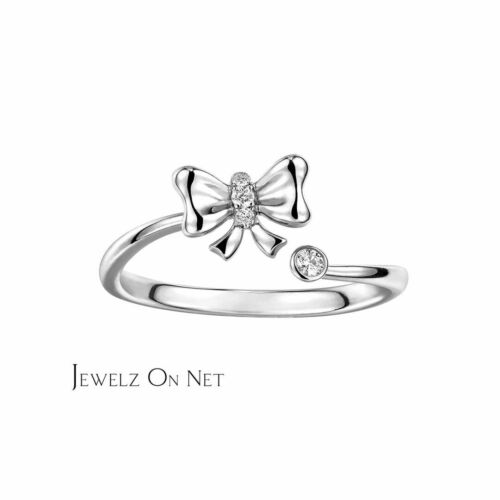Genuine Diamond Bow Design Ring Gift For Your Loved One Details about  /14K Gold 0.07 Ct